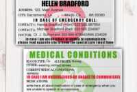Emergency Identification Card Template, Medical Condition for Emergency Contact Card Template