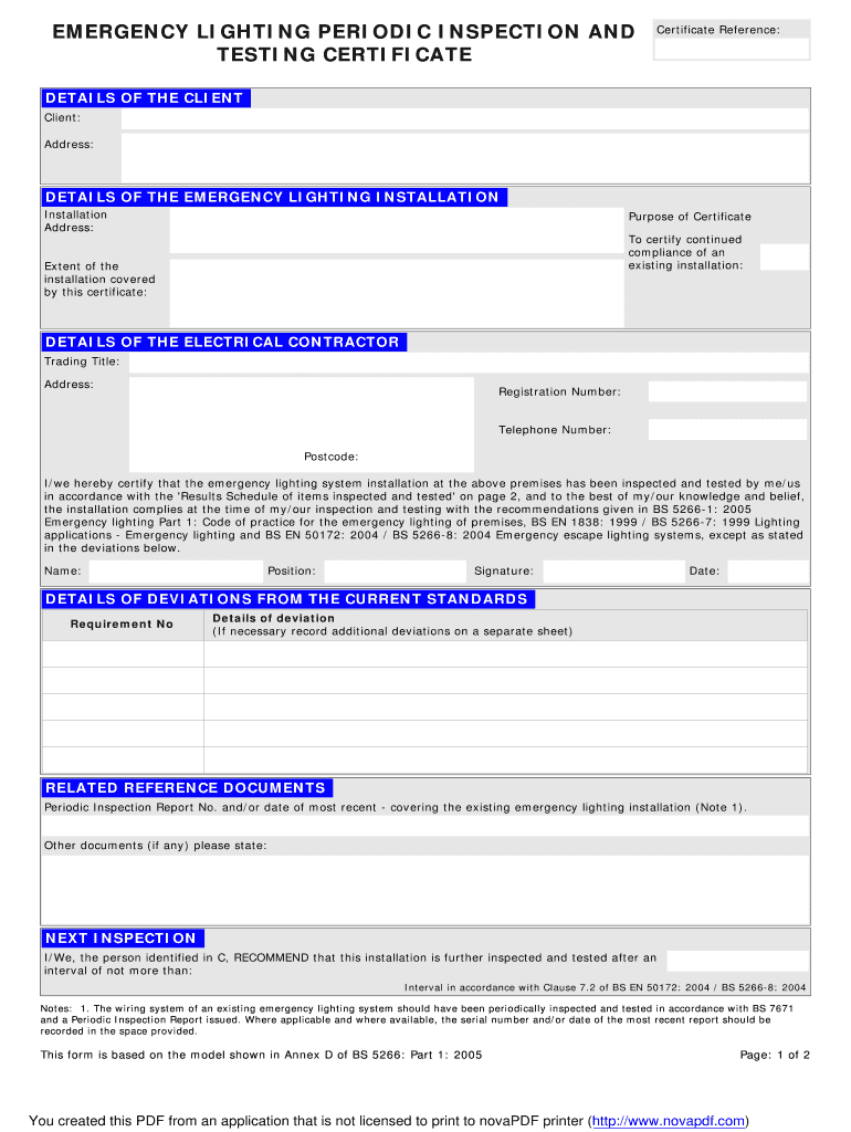 Emergency Lighting Certificate – Fill Online, Printable For Electrical Installation Test Certificate Template