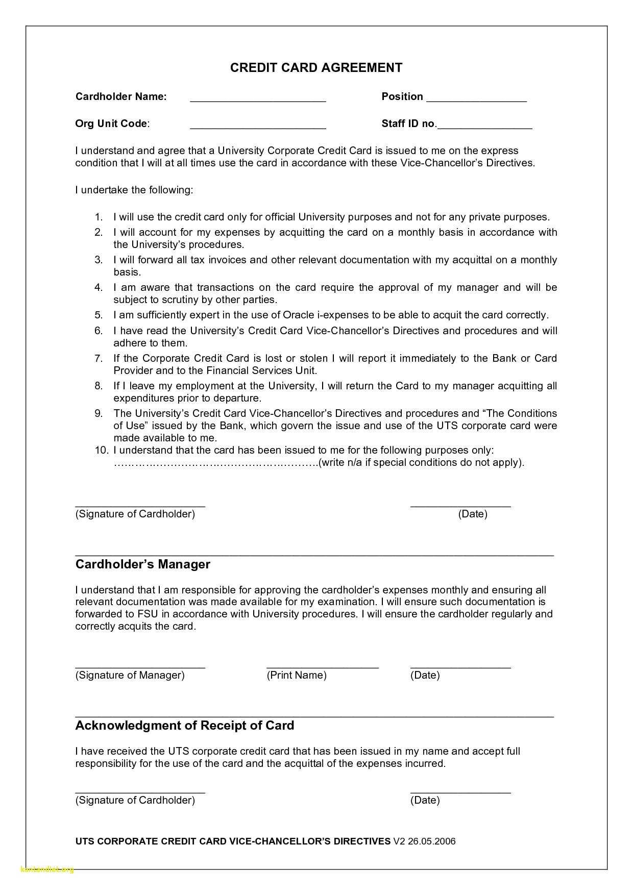 Employee Credit Card Agreement | Business Template Inside Corporate Credit Card Agreement Template