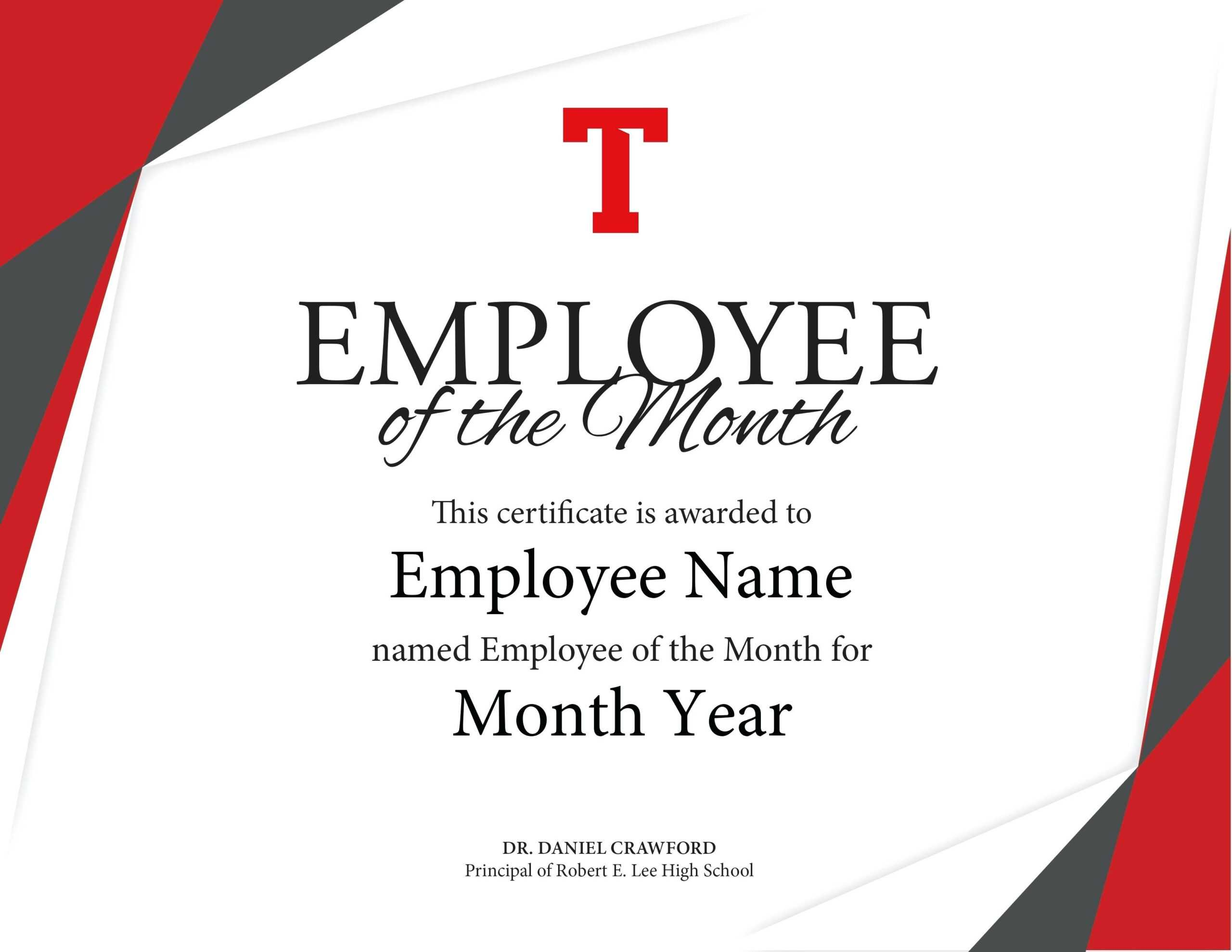 Employee Of The Month Certificate Free Well Designed In Employee Of The Month Certificate Template With Picture