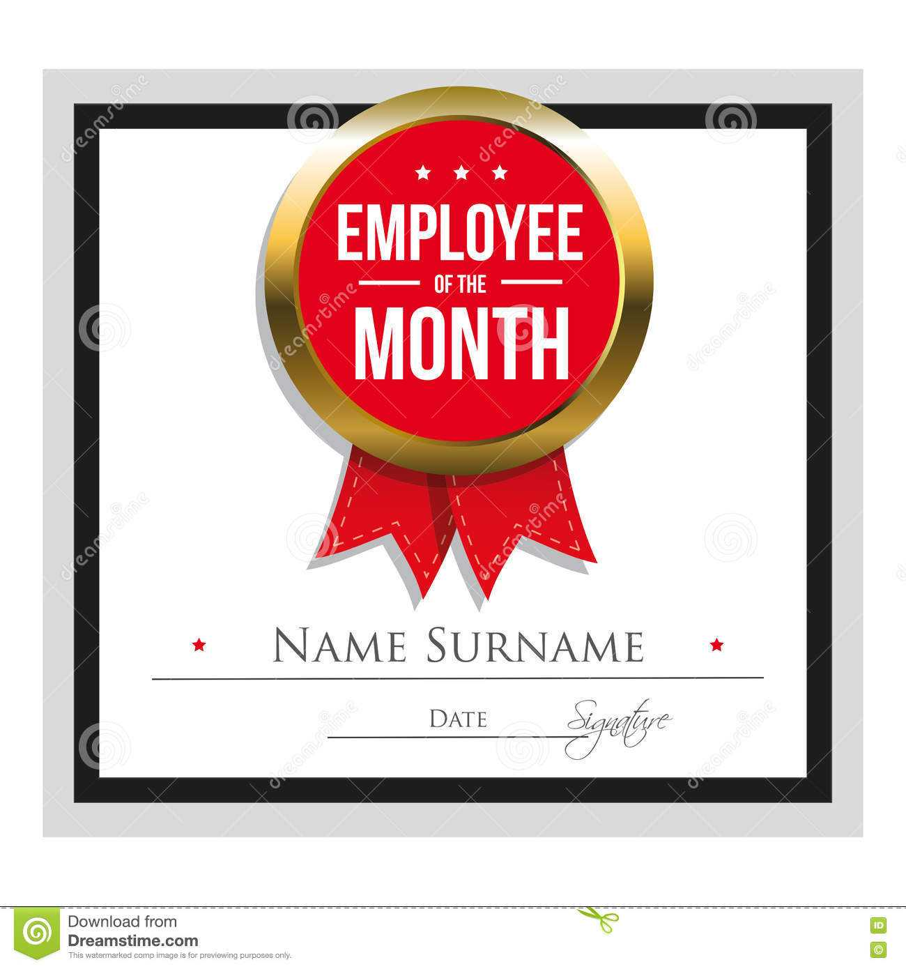 Employee Of The Month Certificate Template Stock Vector Throughout Employee Of The Year Certificate Template Free