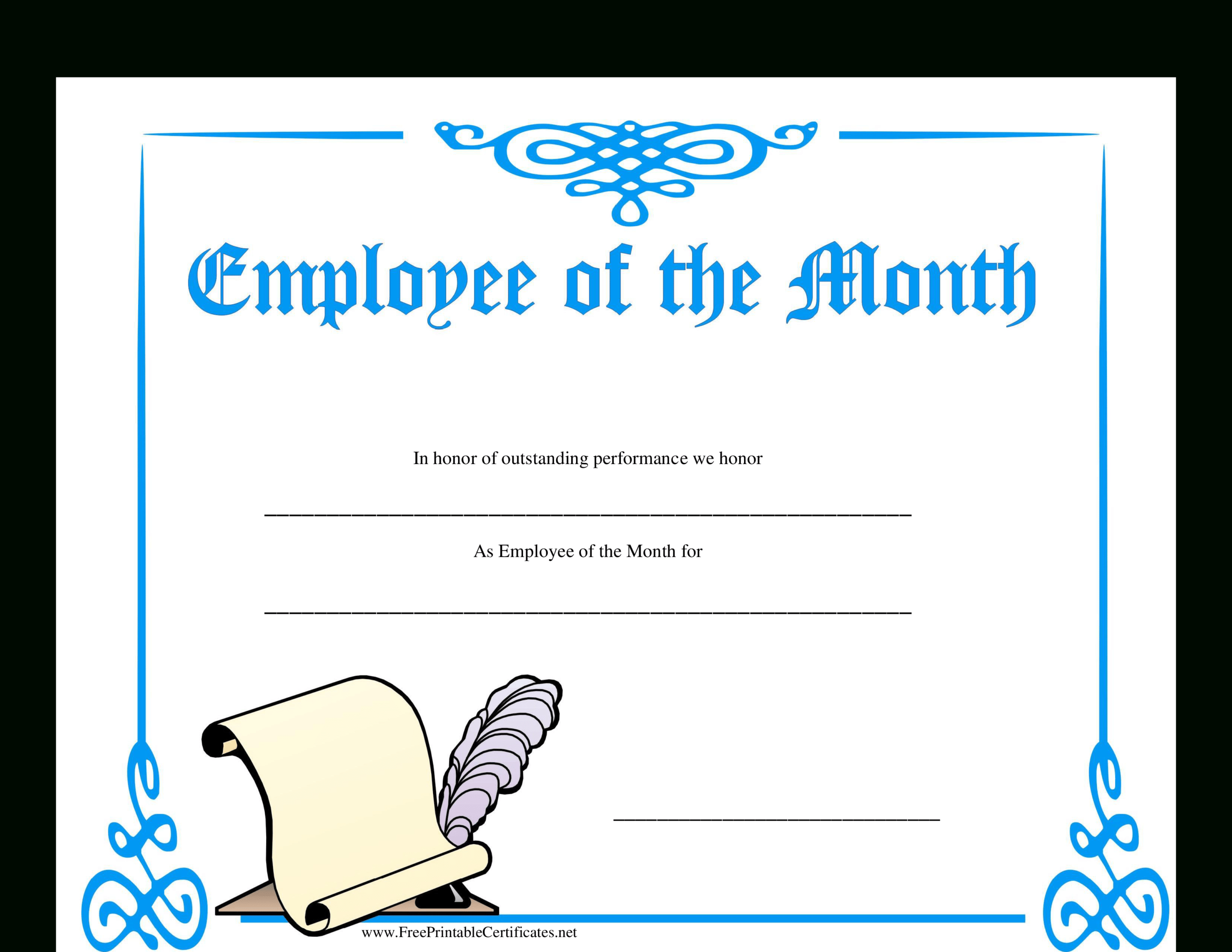 Employee Of The Month Certificate   Templates At Throughout Employee Of The Month Certificate Template With Picture