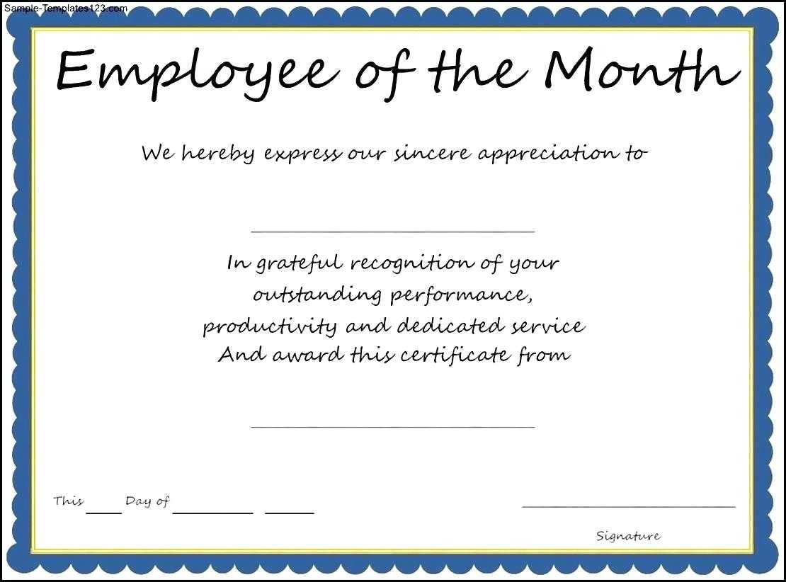 Employee Recognition Templates – Zohre.horizonconsulting.co In Employee Of The Month Certificate Template With Picture