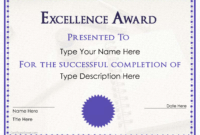 Excellence Award Certificate | Templates At for Award Of Excellence Certificate Template