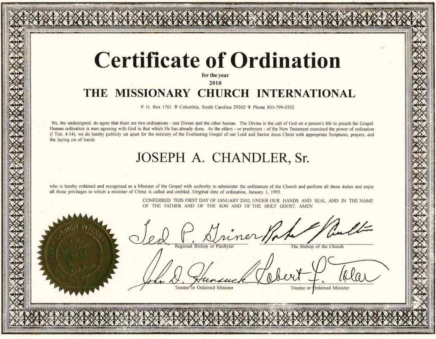 Exceptional Printable Ordination Certificate | Dan's Blog In Free Ordination Certificate Template