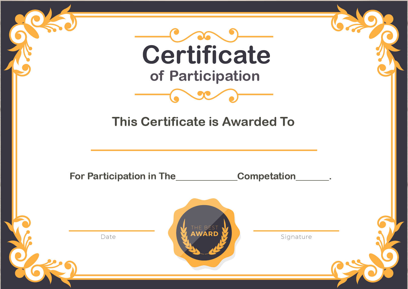 🥰free Printable Certificate Of Participation Templates (Cop)🥰 For Templates For Certificates Of Participation