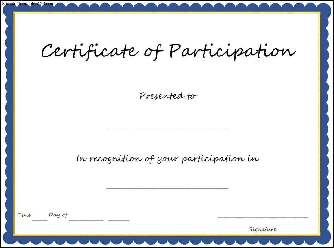 🥰free Printable Certificate Of Participation Templates (Cop)🥰 With Regard To Certificate Of Participation Template Doc