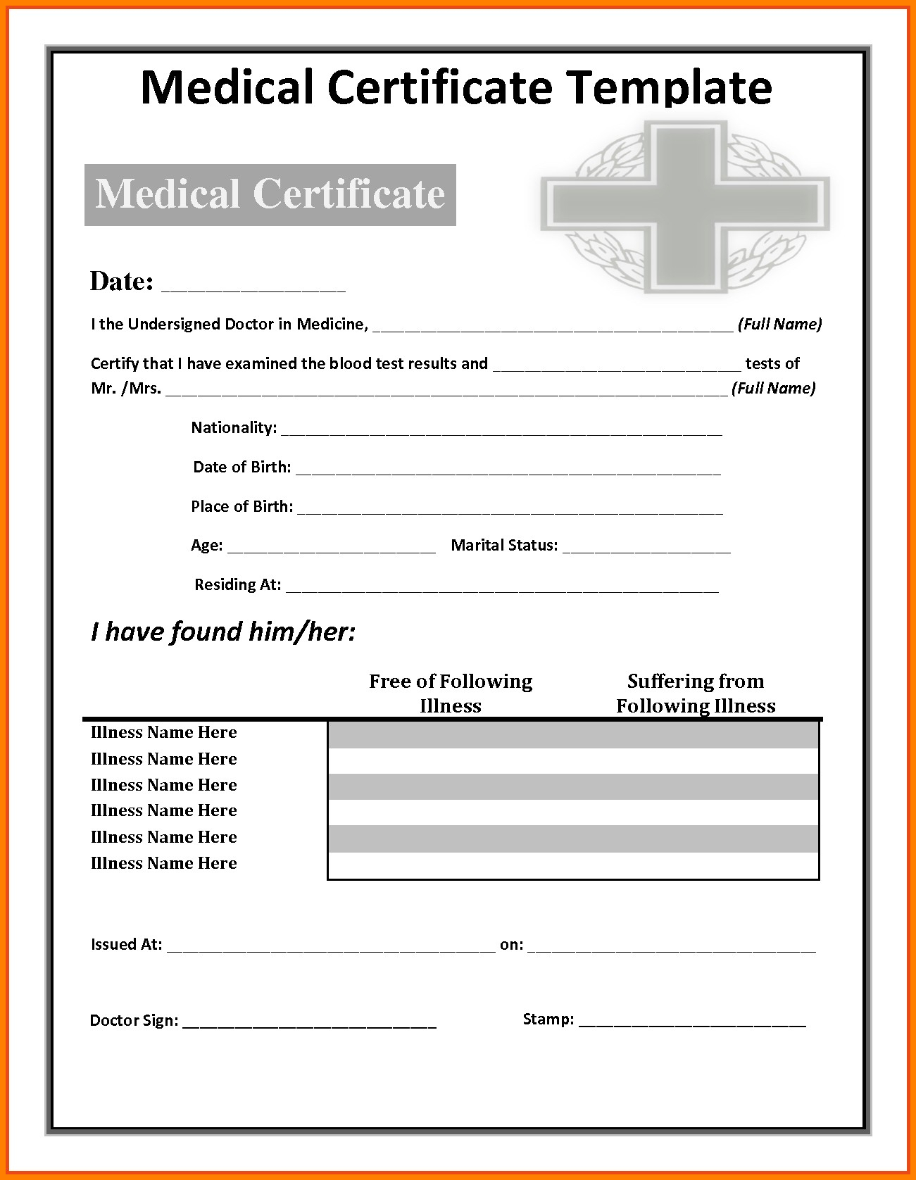 Fake Medical Certificate Philippines - Mahre For Free Fake Medical Certificate Template