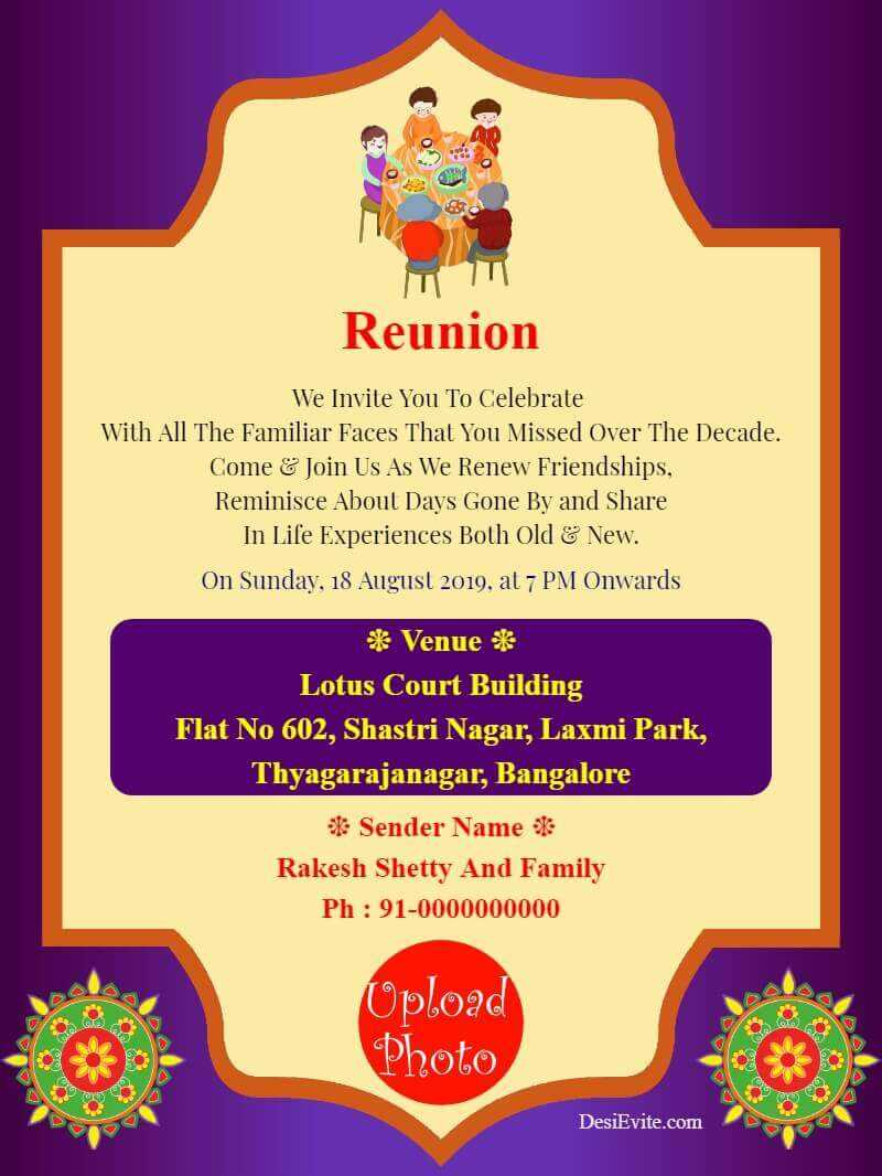 Family Reunion Invitation Card With Photo Invitation Within Reunion Invitation Card Templates