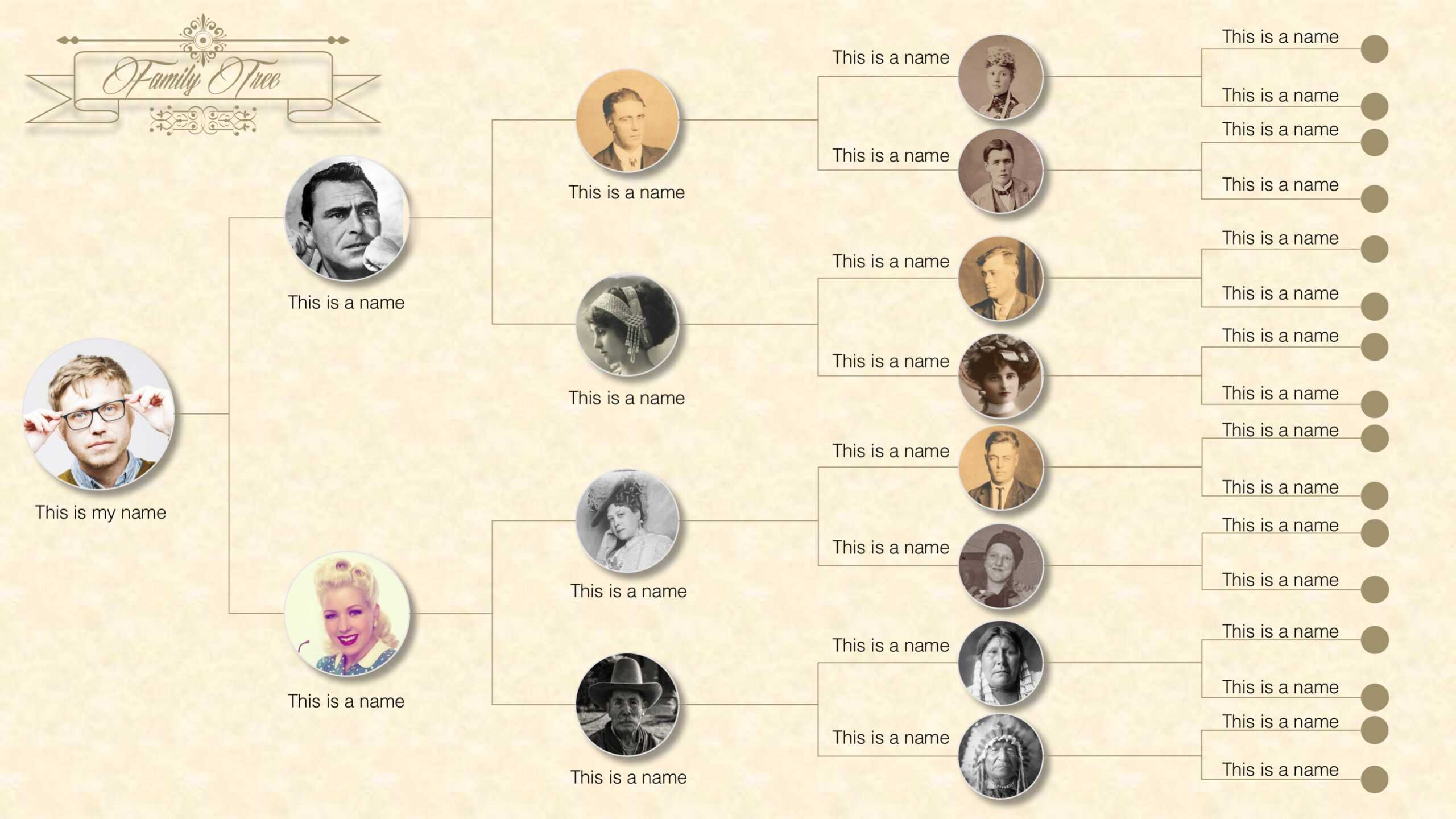 Family Tree Powerpoint Templates For Powerpoint Genealogy Template