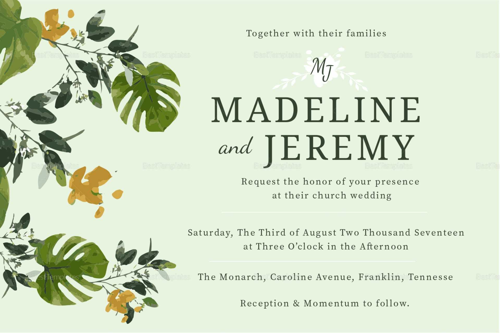 Fascinating Church Invitation Cards Templates Template Ideas With Church Wedding Invitation Card Template