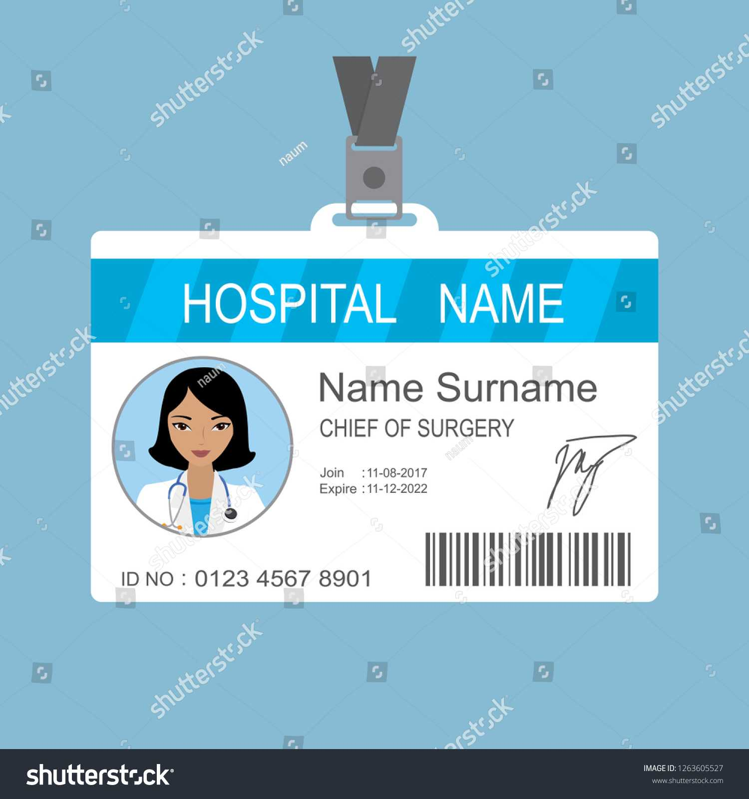 Female Asian Doctor Id Card Templatemedical Stock Vector Within Hospital Id Card Template