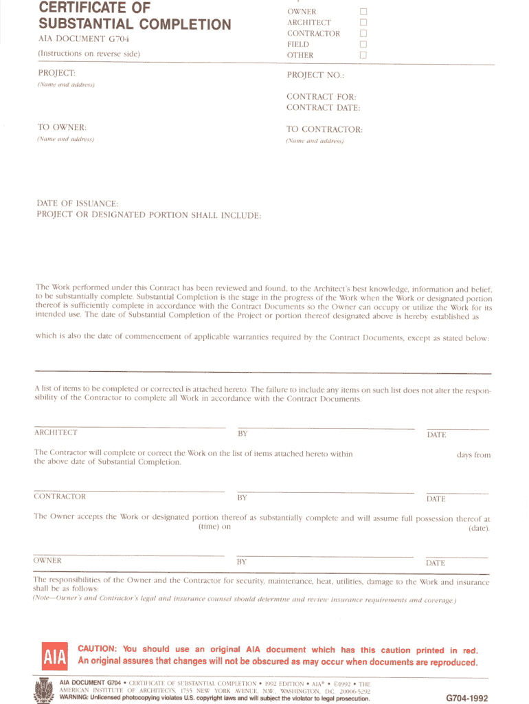 Fillable Online Certificate Of Substantial Completion Fax Intended For Certificate Of Substantial Completion Template