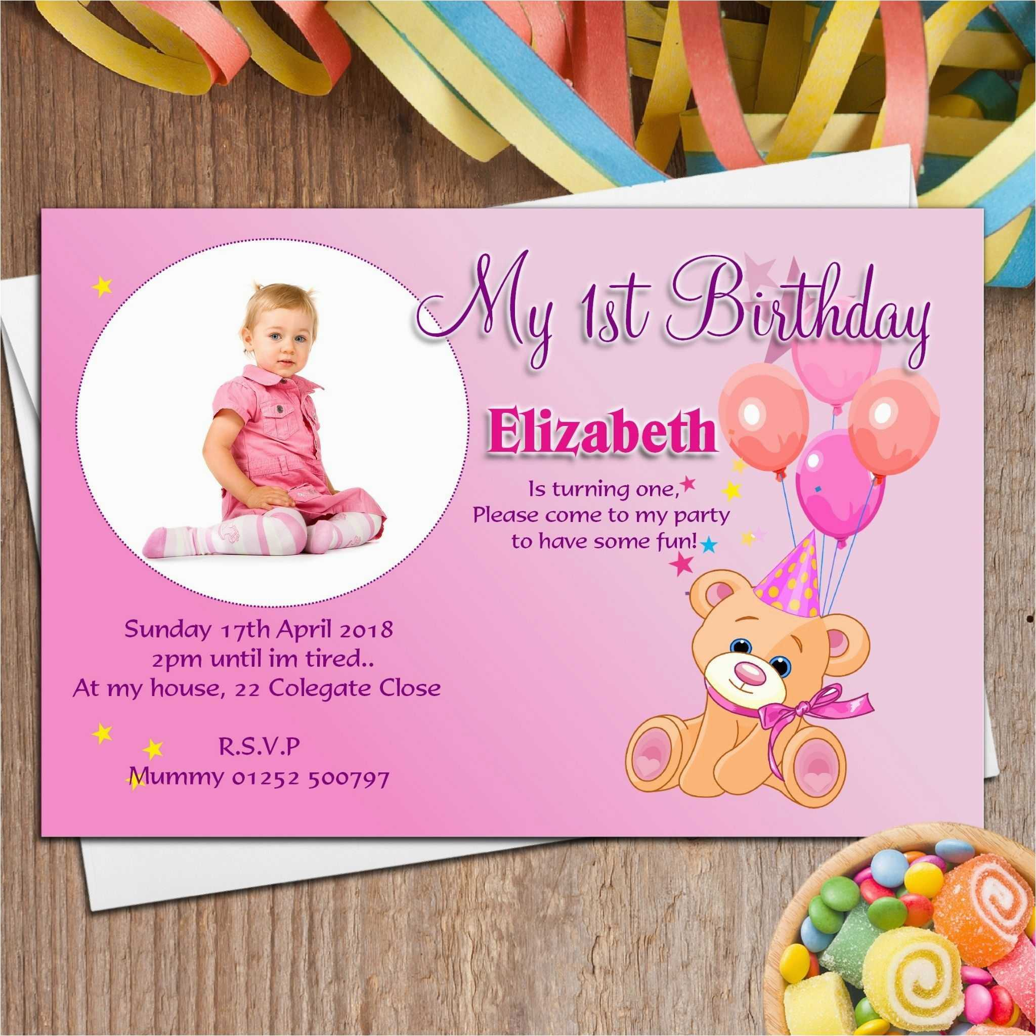 First Birthday Invitations Templates - Zohre For First Birthday Invitation Card Template