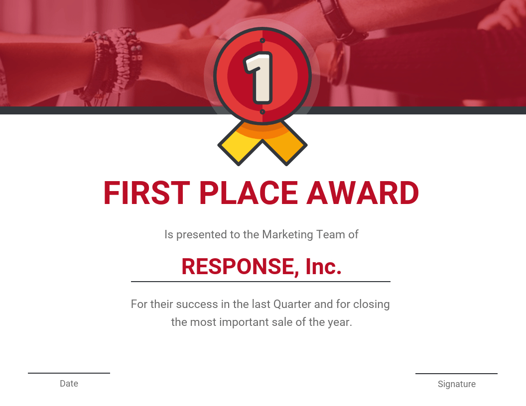 First Place Award Certificate Template Pertaining To First Place Award Certificate Template