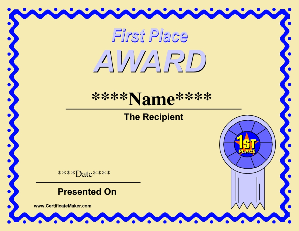 First Place Award Certificate Template - Zohre Inside First Place Award Certificate Template