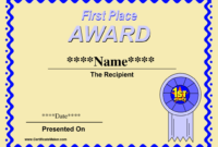 First Place Award Certificate Template – Zohre within First Place Certificate Template