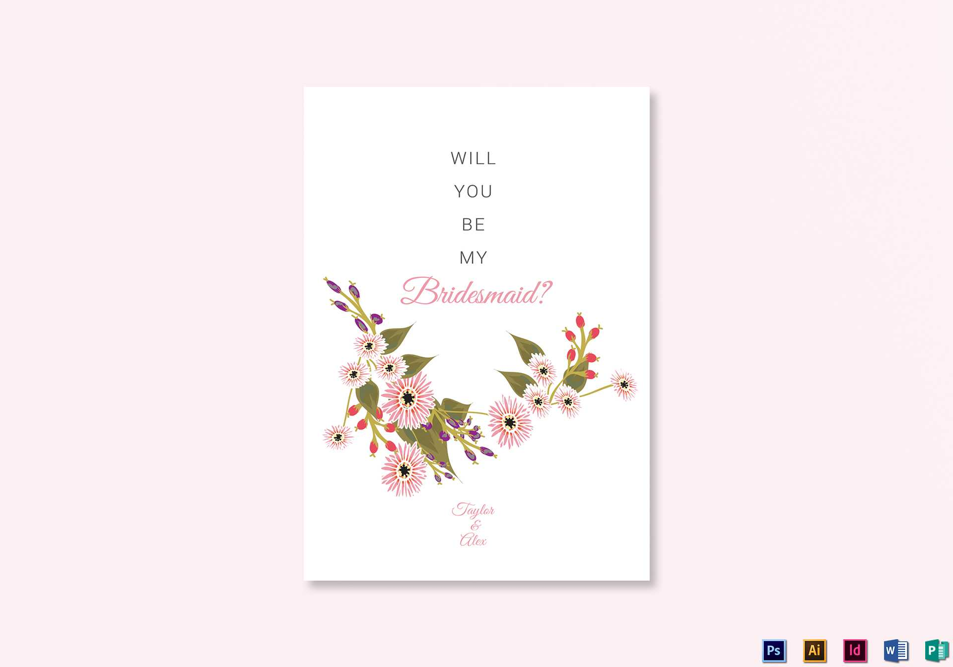 Floral Will You Be My Bridesmaid Card Template Within Will You Be My Bridesmaid Card Template