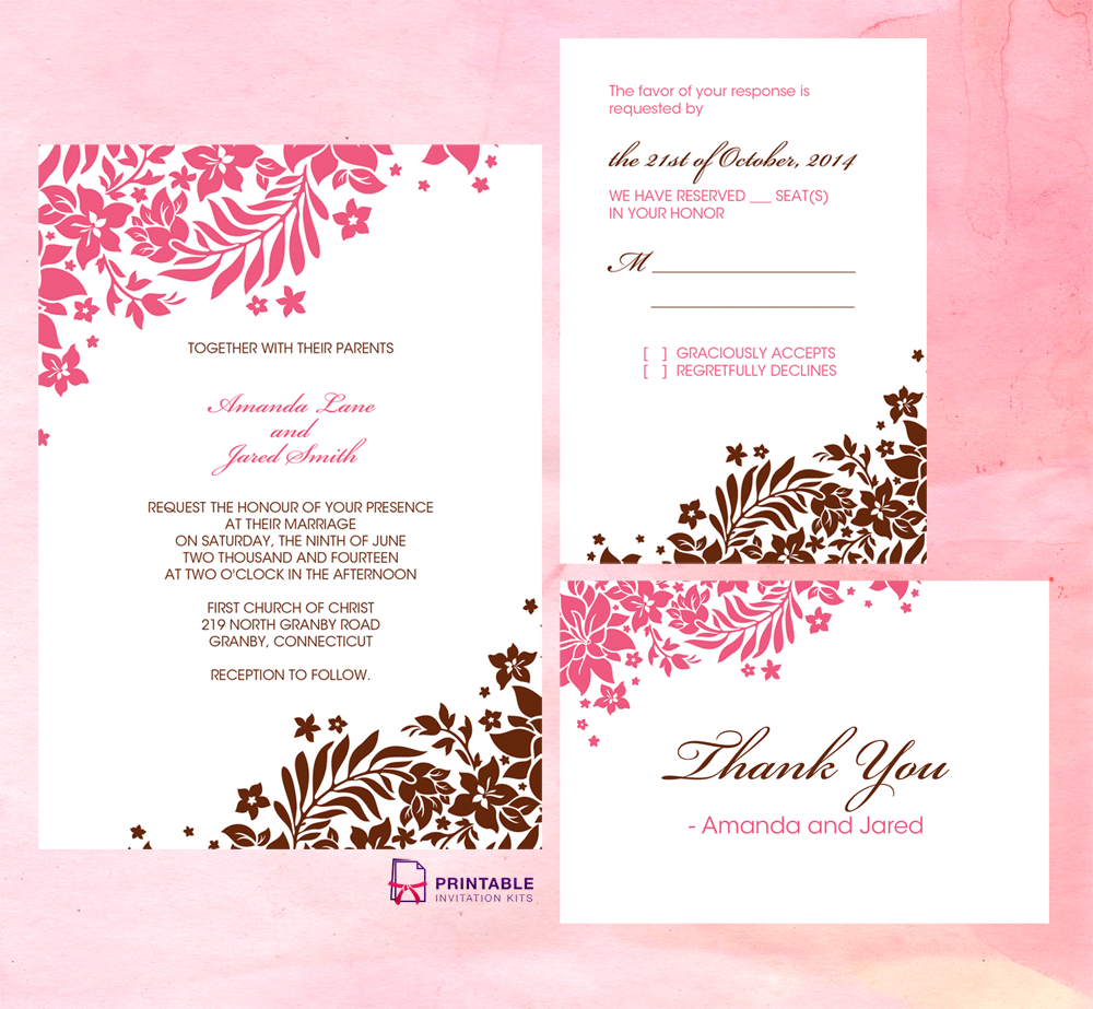 Foliage Borders Invitation, Rsvp And Thank You Cards With Church Wedding Invitation Card Template