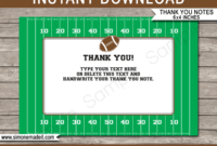 Football Party Thank You Cards Template within Soccer Thank You Card Template
