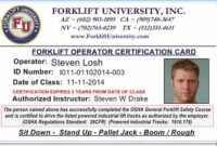 Forklift Certification In Los Angeles Gallery – Creative in Forklift Certification Card Template