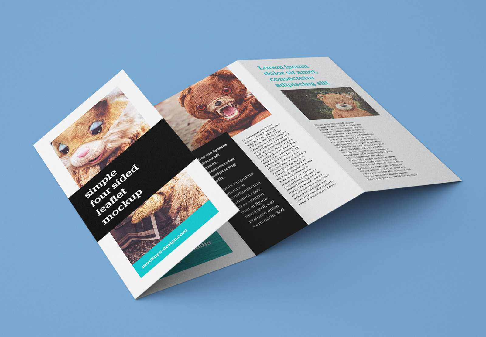 Free Accordion 4 Fold Brochure / Leaflet Mockup Psd Pertaining To Quad Fold Brochure Template