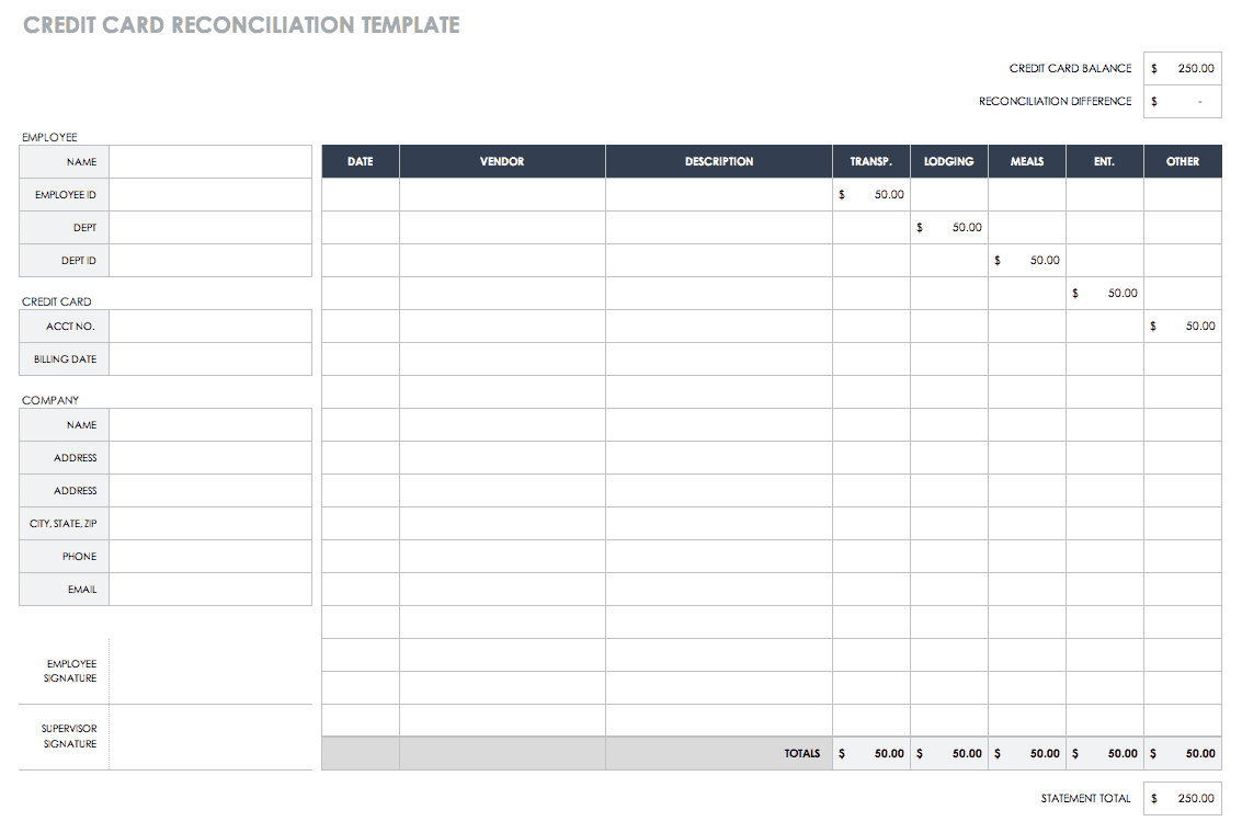 Free Account Reconciliation Templates | Smartsheet Intended For Credit Card Statement Template Excel