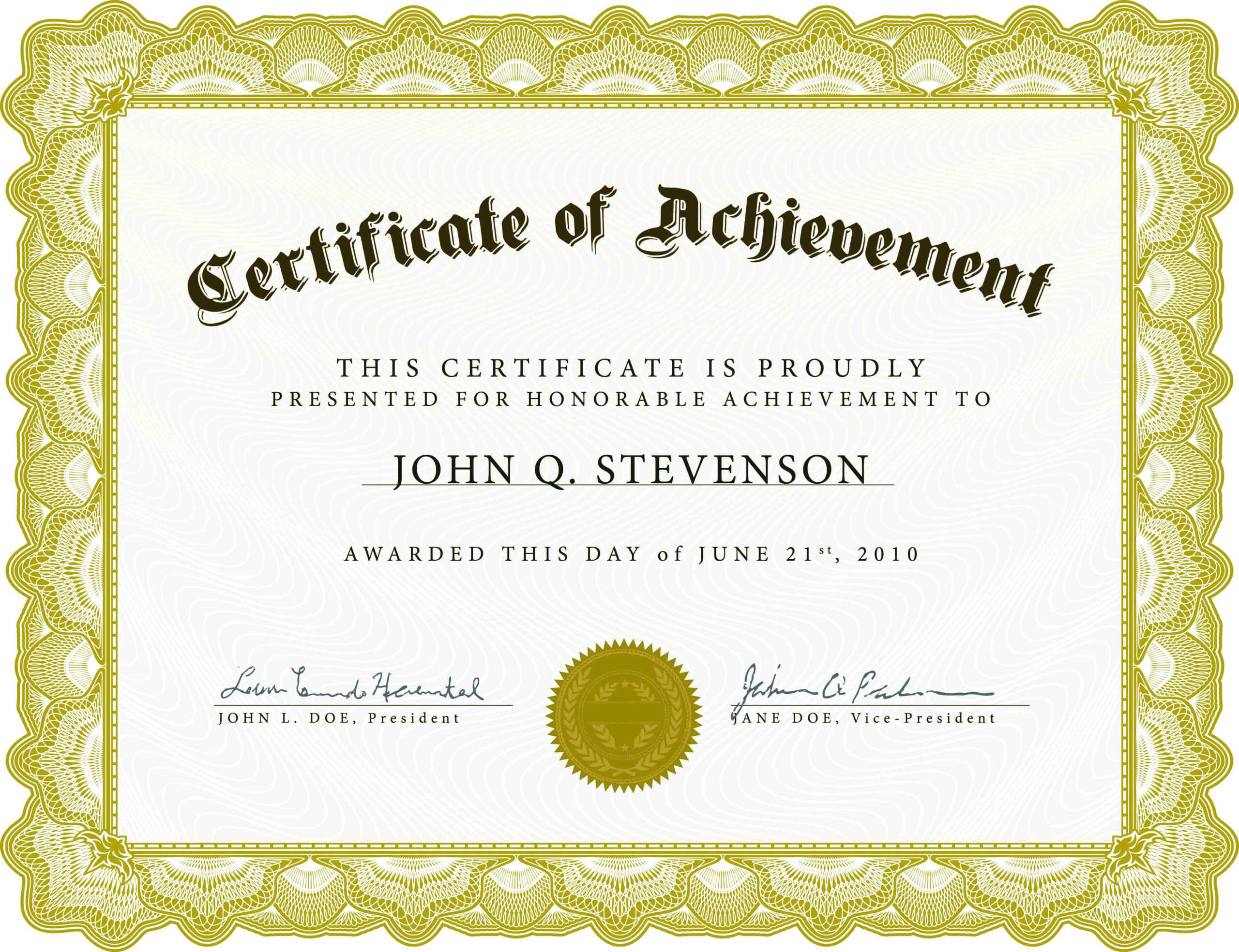 Free Award Templates For Word - Zohre.horizonconsulting.co In Blank Certificate Of Achievement Template