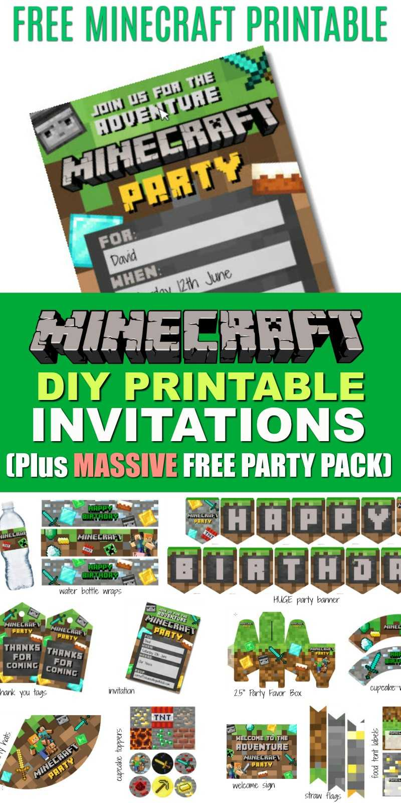 Free Diy Printable Minecraft Birthday Invitation - Clean For Minecraft Birthday Card Template