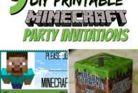 Free Diy Printable Minecraft Birthday Invitation – Clean intended for Minecraft Birthday Card Template