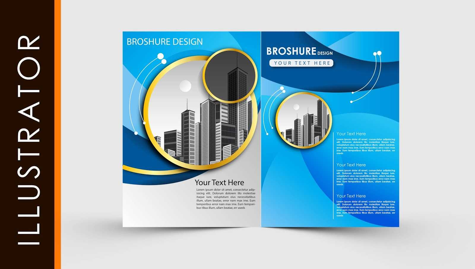 Free Download Adobe Illustrator Template Brochure Two Fold With Regard To Illustrator Brochure Templates Free Download
