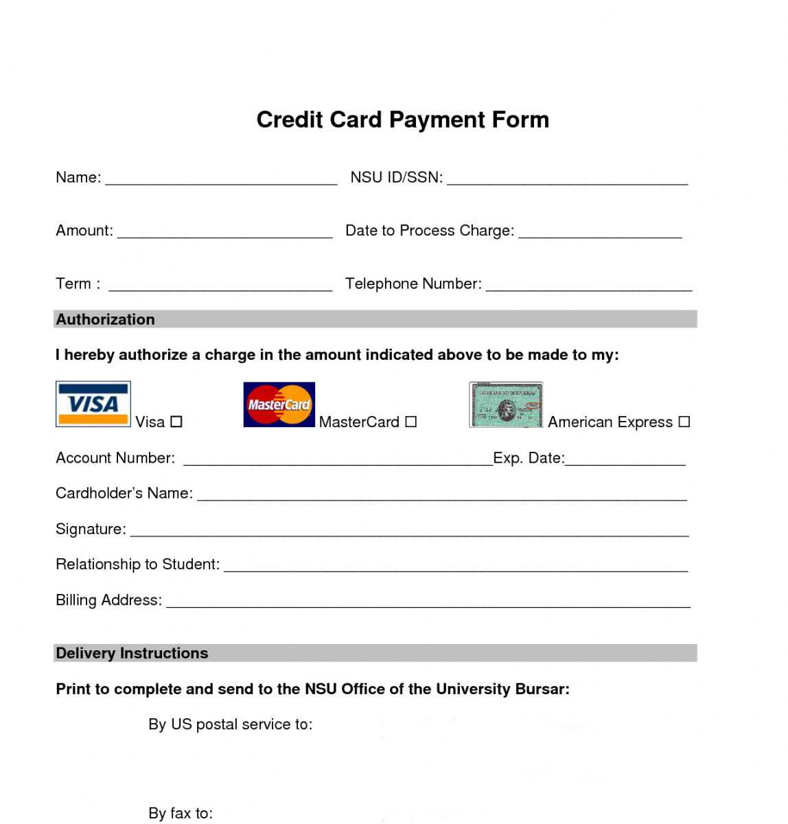 Free Free Credit Card Payment Form Template For Order Form With Credit Card Template