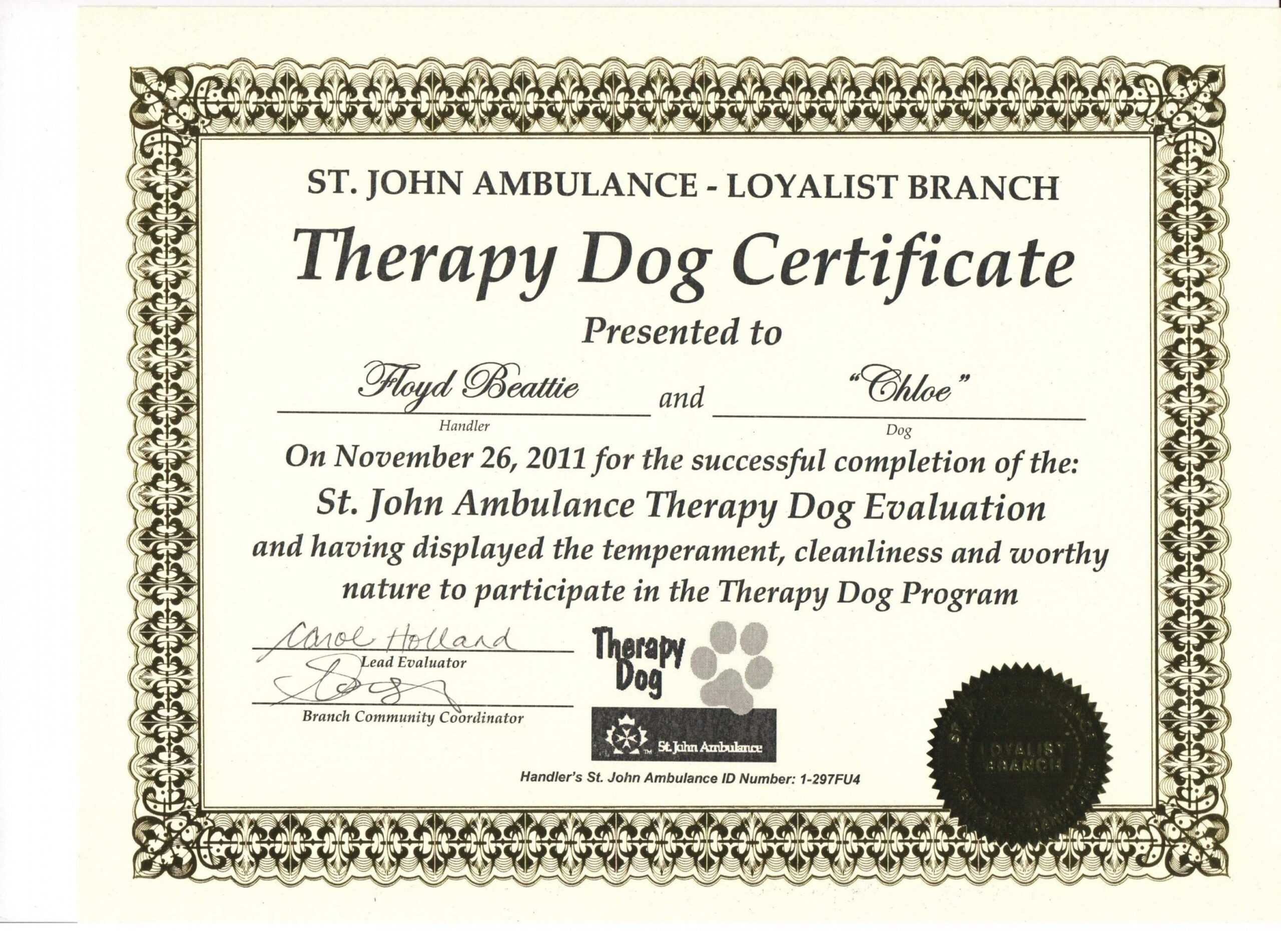 Free Free Service Dog Certification Download Exclusive Dog With Regard To Service Dog Certificate Template