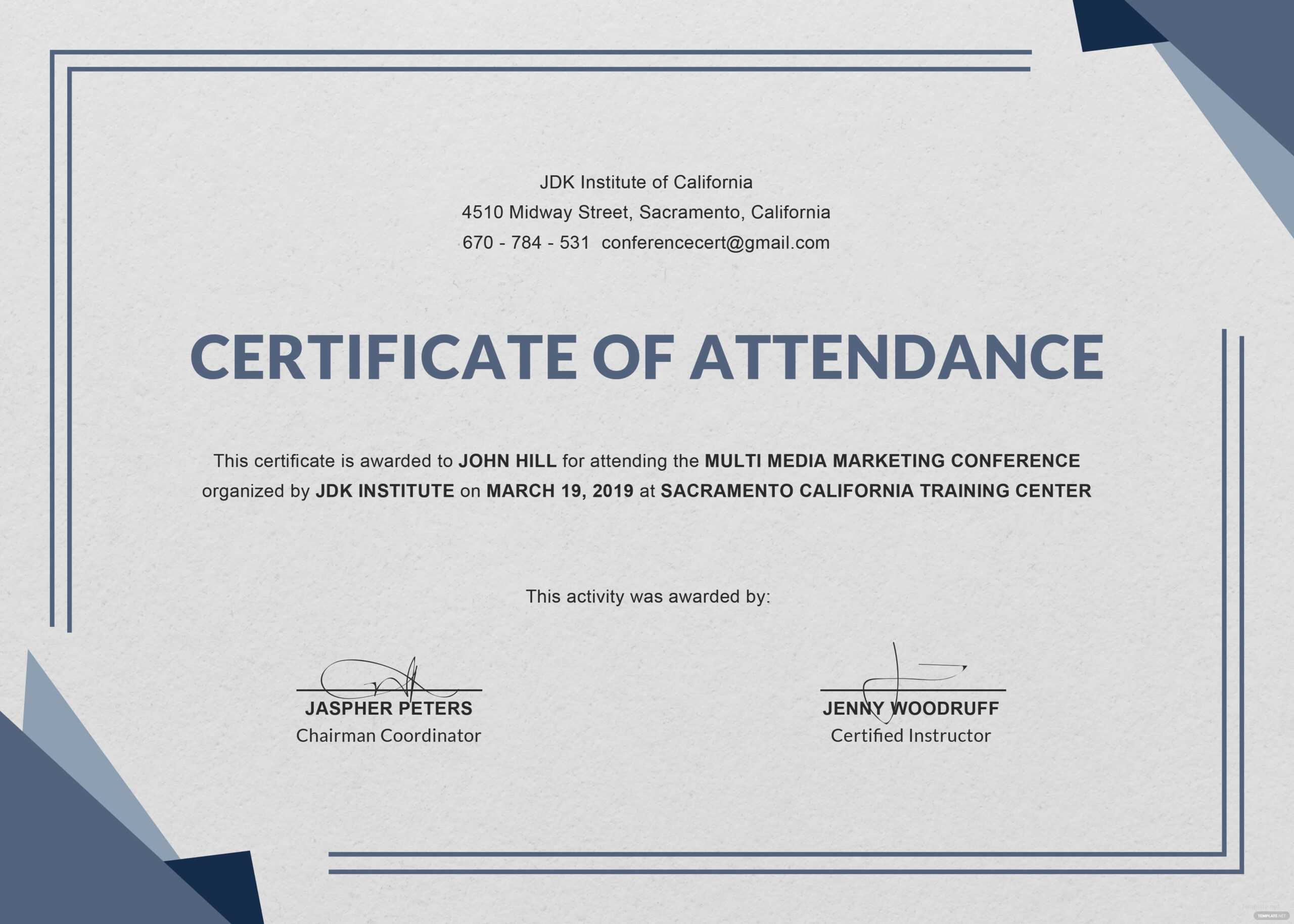Free Knowledge Sharing From The International Trainer And For Conference Certificate Of Attendance Template