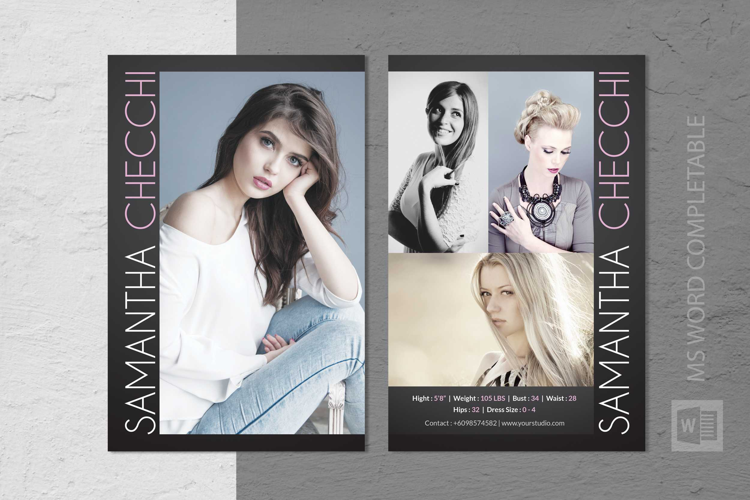Free Model Comp Card Templates - C Punkt With Free Zed Card Template