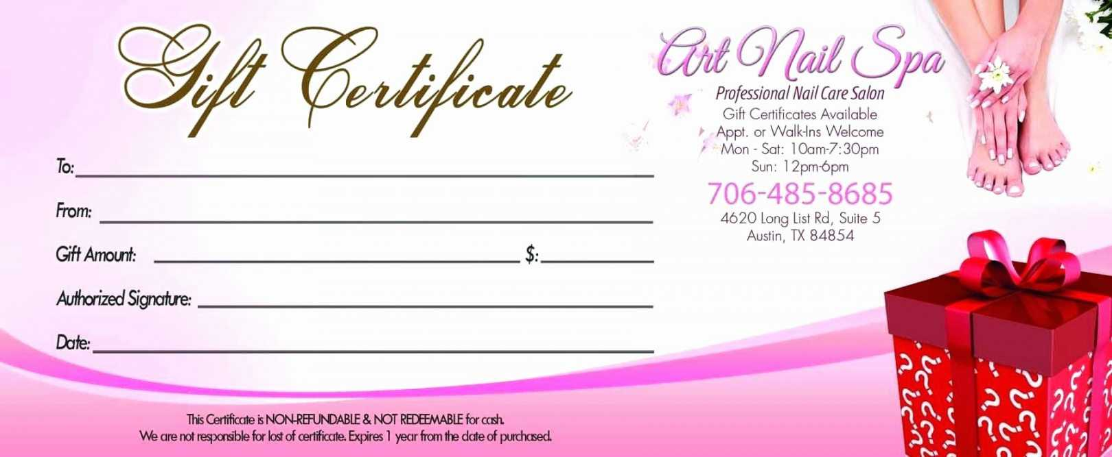 Free Nail Salon A Street Design For Template Nail Salon Gift Within Nail Gift Certificate Template Free