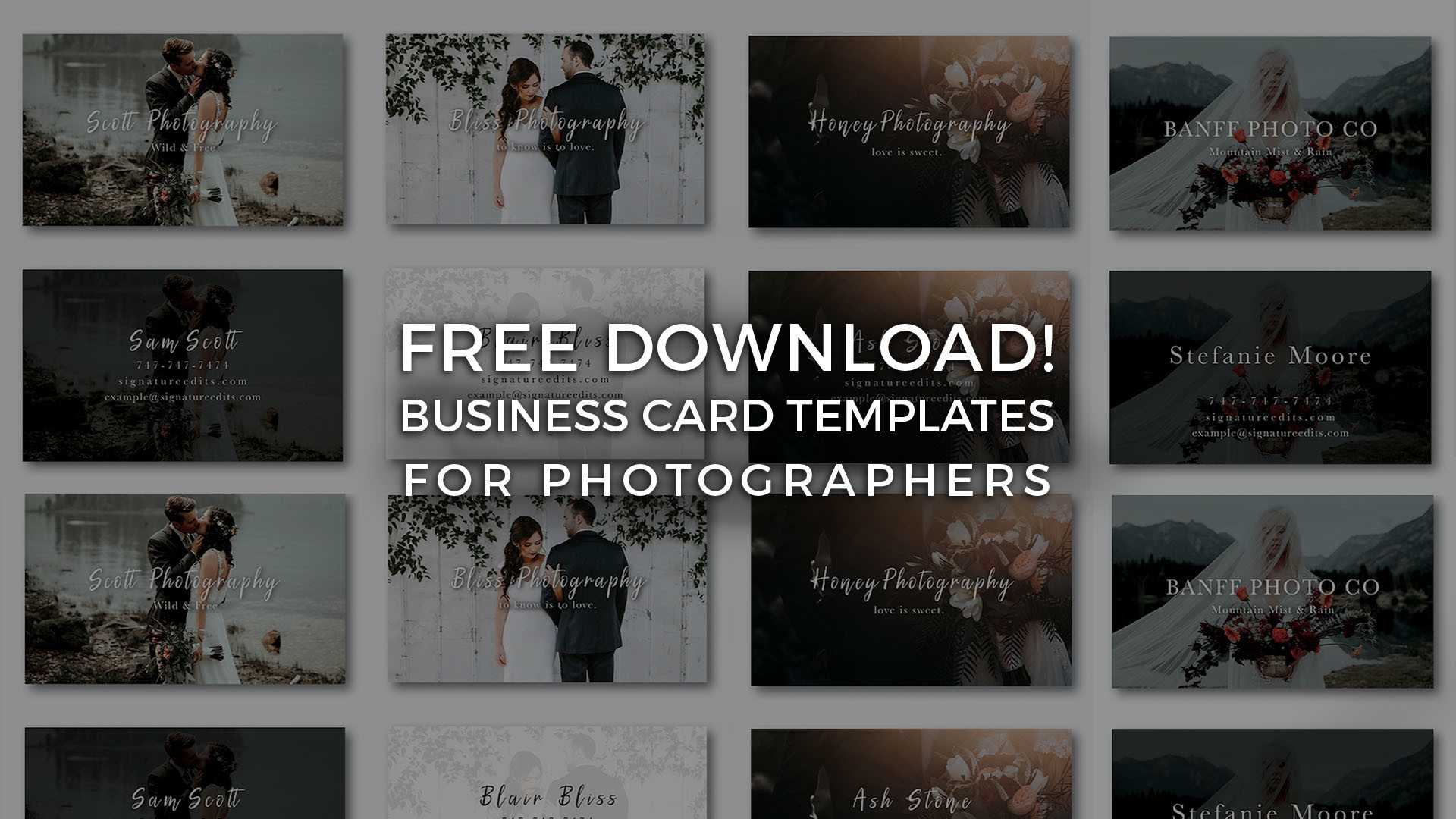 Free Photographer Business Card Templates! - Signature Edits In Free Business Card Templates For Photographers