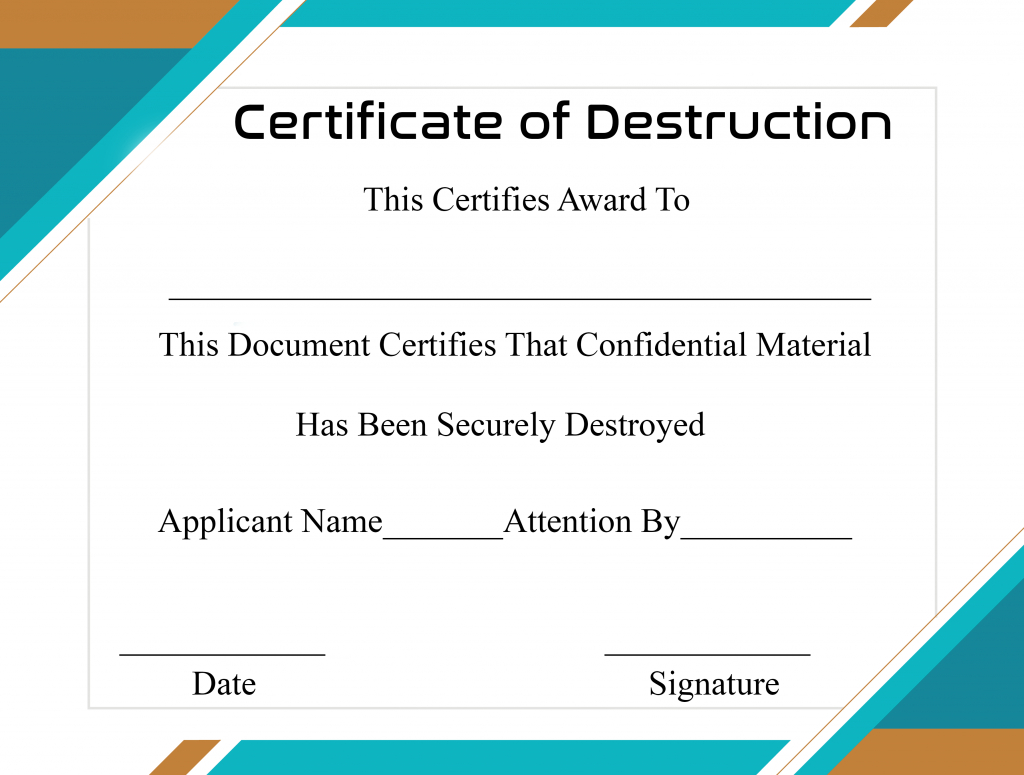 Free Printable Certificate Of Destruction Sample Within Hard Drive Destruction Certificate Template