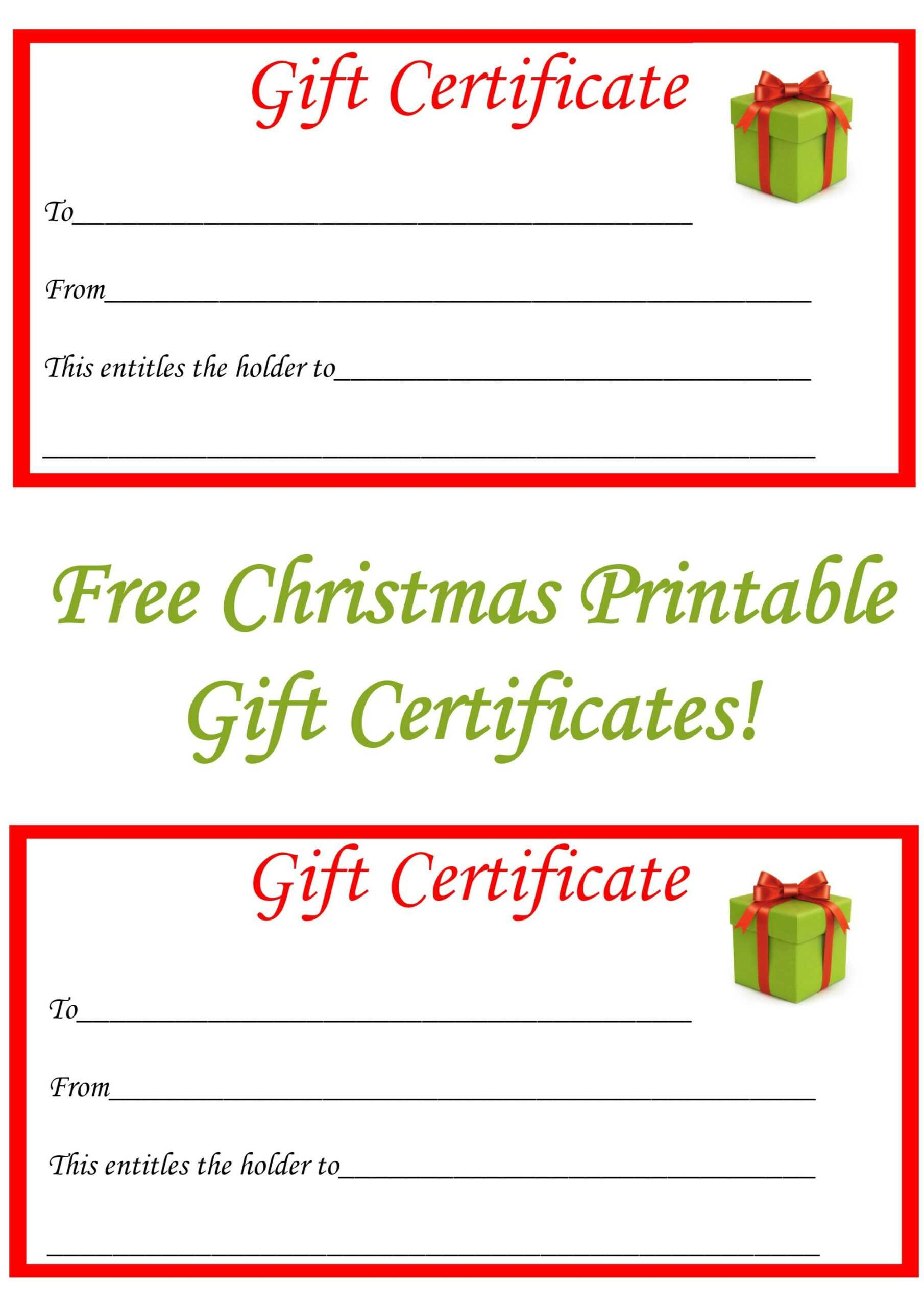 Free Printable Christmas Gift Certificate Template Throughout Christmas Gift Certificate Template Free Download