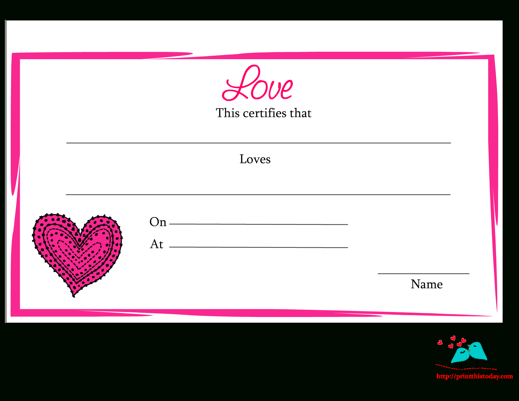 Free Printable Love Certificates Throughout Love Certificate Templates