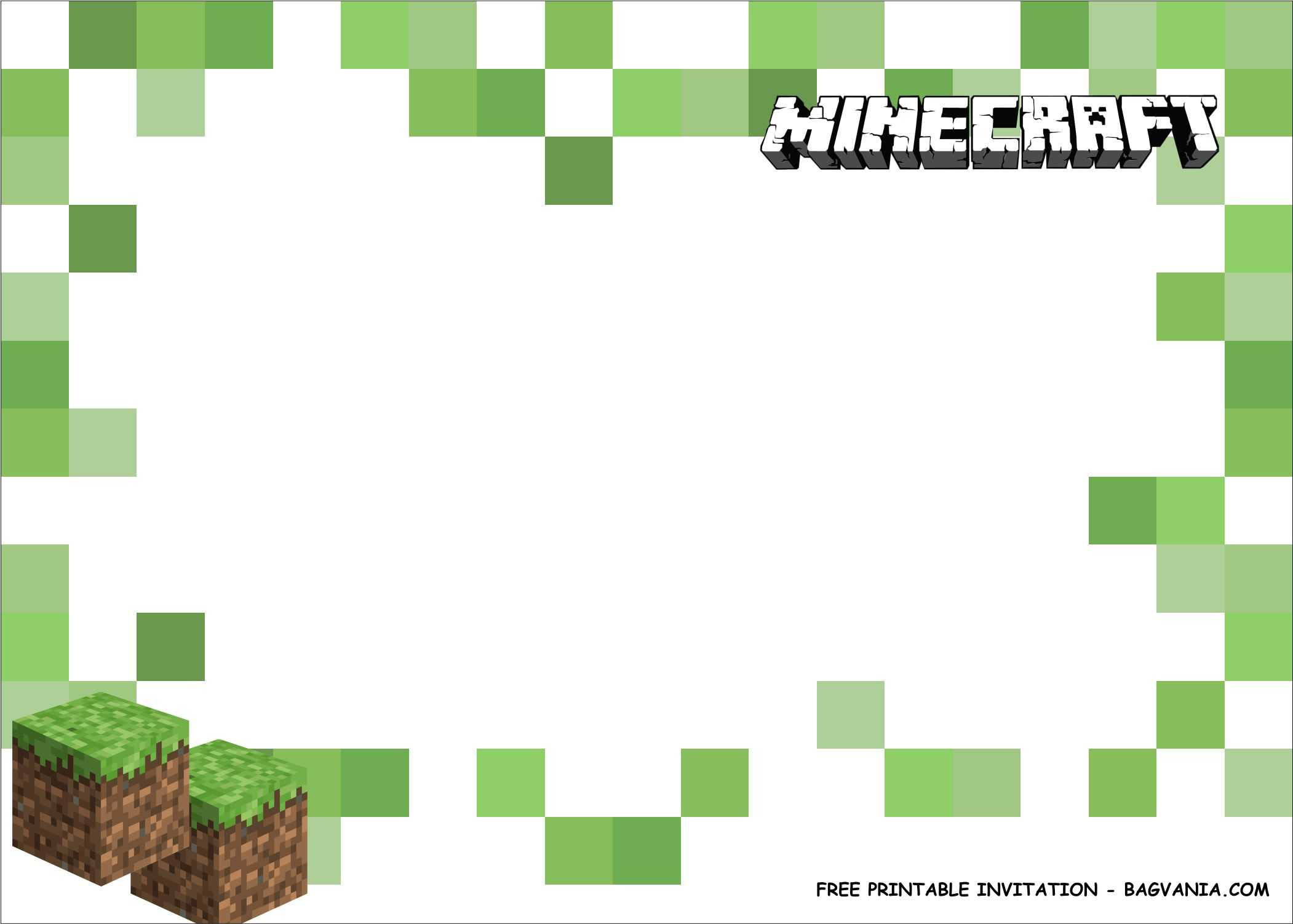Free Printable) - Minecraft Birthday Party Kits Template Pertaining To Minecraft Birthday Card Template