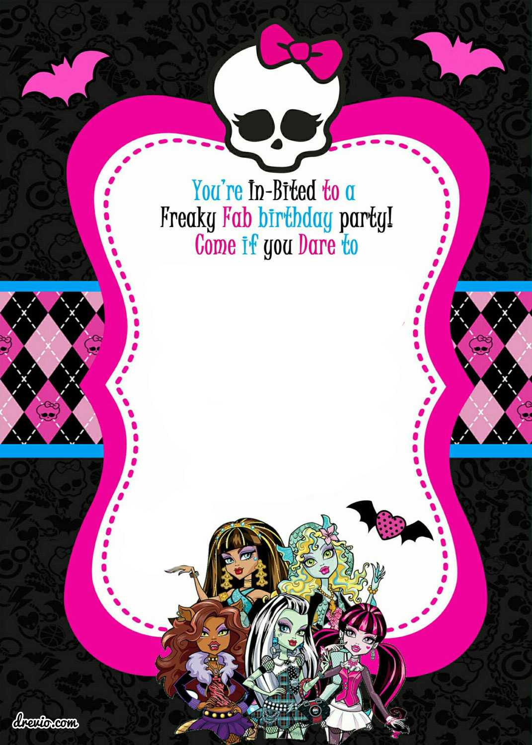 Free Printable Monster High Birthday Invitations Layout With Monster High Birthday Card Template