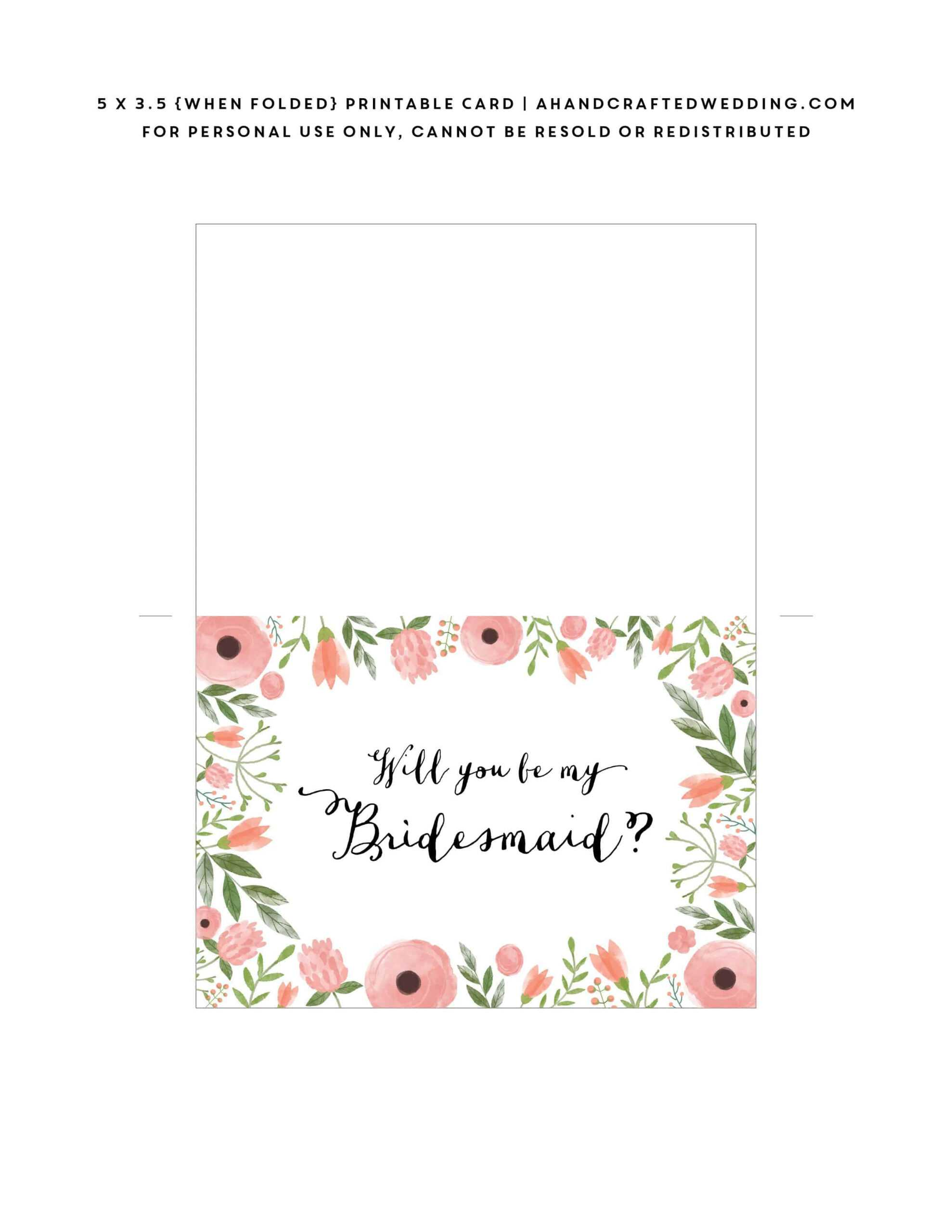 Free Printable Will You Be My Bridesmaid Card | Mountain With Will You Be My Bridesmaid Card Template