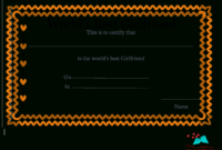 Free Printable World's Best Girlfriend Certificates with regard to Love Certificate Templates
