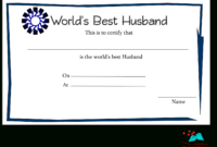 Free Printable World's Best Husband Certificates for Anniversary Certificate Template Free