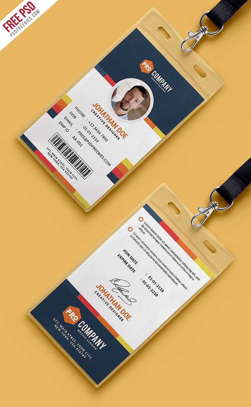 Free Psd : Creative Office Identity Card Template Psd On Behance Throughout Conference Id Card Template