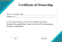 Free Sample Certificate Of Ownership Templates | Certificate regarding Certificate Of Ownership Template