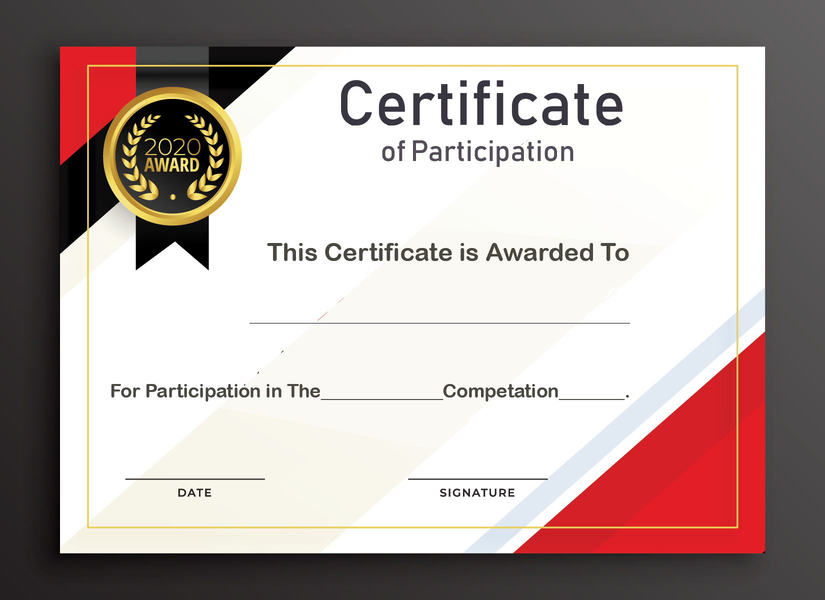 Free Sample Format Of Certificate Of Participation Template Pertaining To Templates For Certificates Of Participation