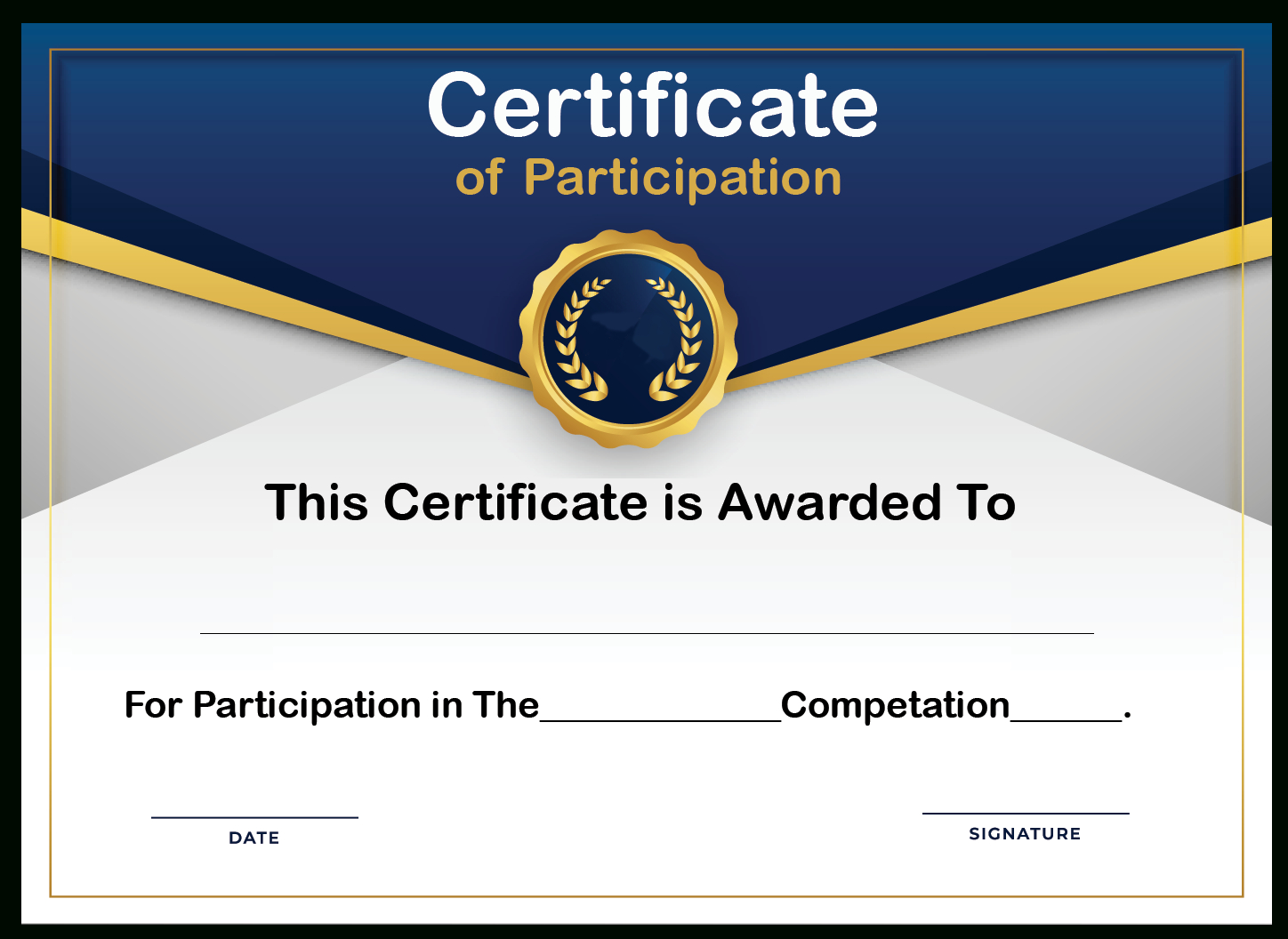 Free Sample Format Of Certificate Of Participation Template With Regard To Certificate Of Participation Template Doc