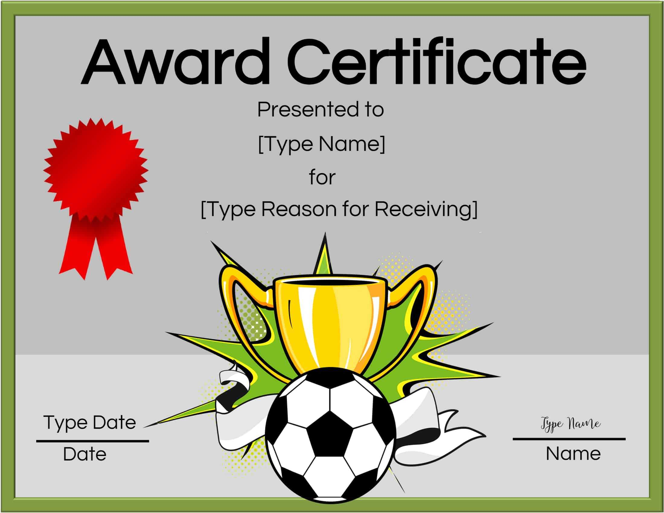 Free Soccer Certificate Maker | Edit Online And Print At Home For Soccer Award Certificate Templates Free